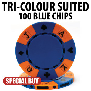Tri-Colour 11.5 Gram Poker Chips 100 BLUE Chips CLEARANCE