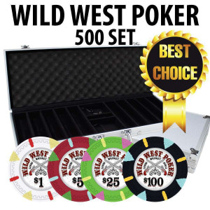 Wild West 500 Poker Chips W/ Aluminum Case