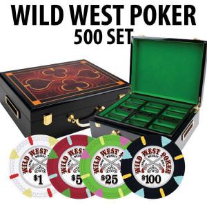 Wild West 500 Poker Chips W/ Hi Gloss Wood case