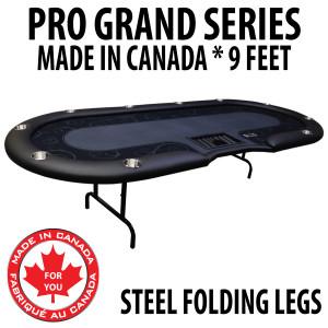 Poker Table 9 foot SPS Pro Grand Black Dealer With Steel Folding Legs