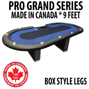 Poker Table 9 foot SPS Pro Grand Blue Dealer With Box Style Legs