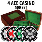 4 Ace Casino Poker Chip Set 500 Chips with Customizable Wood Case