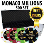 Monaco Millions 500 Poker Chip Set with Aluminum Case