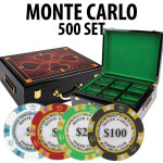 Monte Carlo 500 Poker Chip Set with Hi Gloss Wood Case
