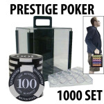 Prestige Poker Chips 1000 Chip Set with Acrylic Carrier and Racks