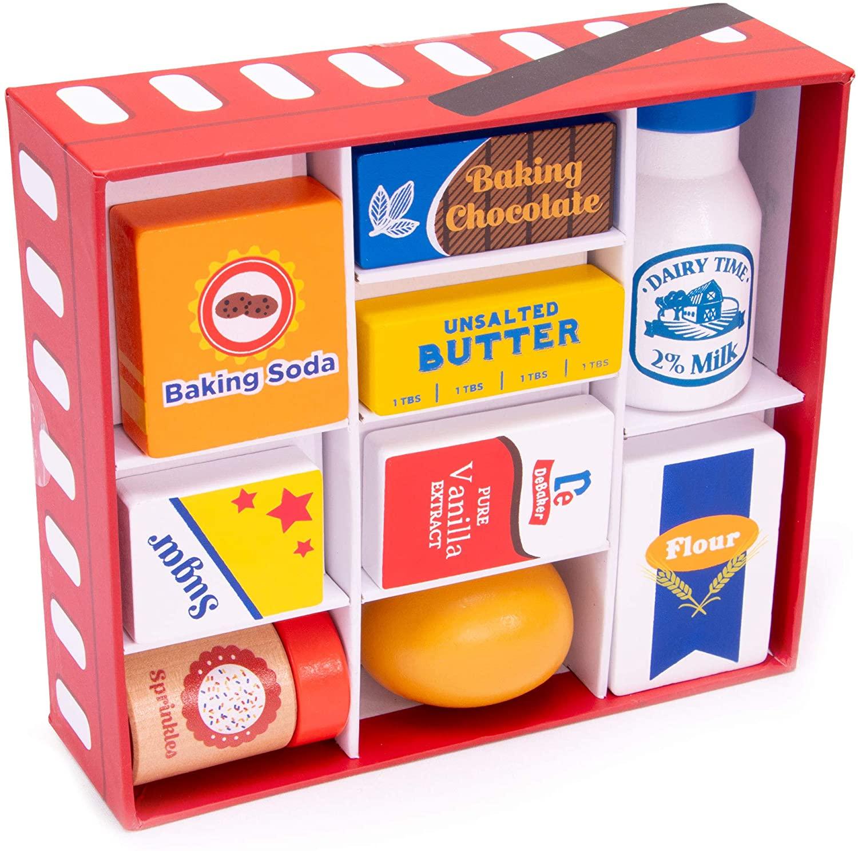 Wooden Play Food Baking Groceries