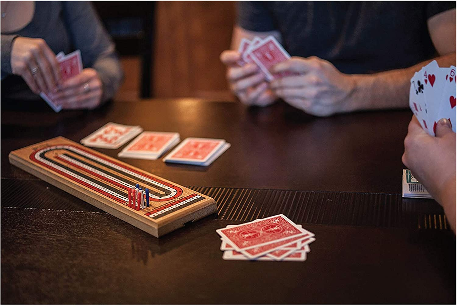 3-Track Colour Coded Real Pine Wood Cribbage Game